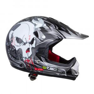 Junior motorcycle helmet W-TEC V310 black with scull
