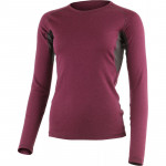 Womens merino wool thermal underwear top LASTING Berta, Dark red