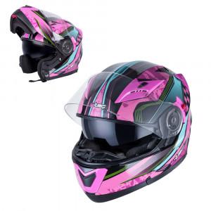 Motorcycle helmet W-TEC YM925 Magenta - Pink / black